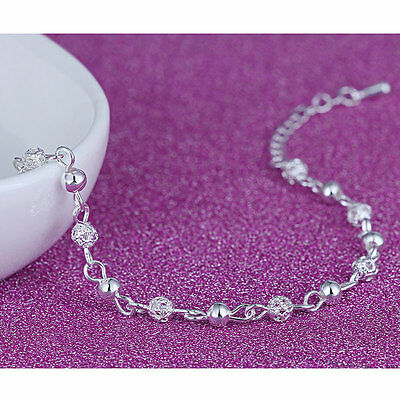 Fashion Women Silver Plated Crystal Chain Bangle Cuff Charm Bracelet Jewelry New