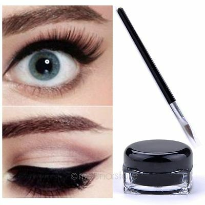 Negro Waterproof Eye Liner Delineador Gel Makeup Cosmetic + Brush Makeup Set