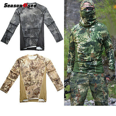 1PC Men's Tactical Camouflage Quick Drying Outdoor T-shirt  Paintball M-XXL UK