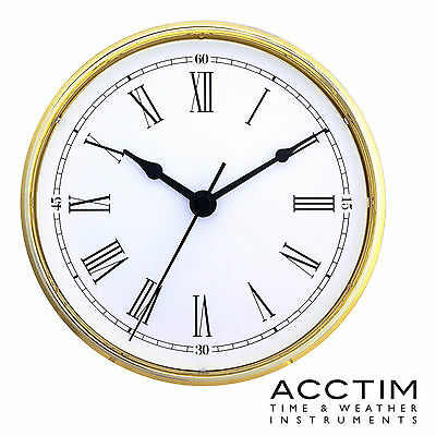 Insertion Clock 90mm Quartz Acctim Gold bezel white Roman Dial