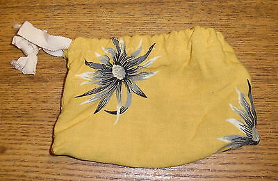 "Old Floral Material Small Drawstring Bag / Pouch - 7"" x 5"""