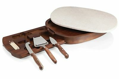 Picnic Time Heritage 4 Piece Carrara Marble Cheese Board and Tool Set