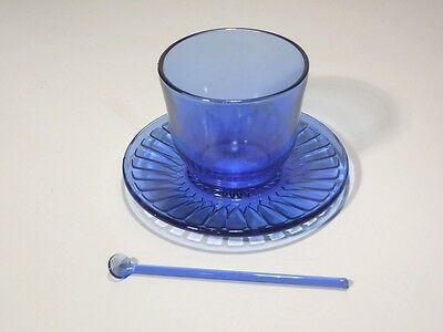 Macbeth Evans Petalware Cobalt Blue Condiment W Blue Glass Condiment Spoon