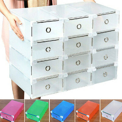 Storage Shoe Boxes Clear Transparent Drawer Organizers Stackable Box 33*20*12cm