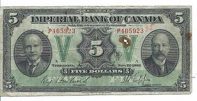 1923 Imperial Bank of Canada $5 Bank Note Circulated S# 1142a; Circulated