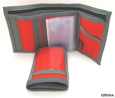 Trifold ID Wallet. ORANGE w/ Gray TRIM.  Hook & Loop Closure. Made in USA