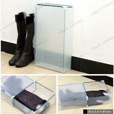 Large Long Boot Storage Shoe Boxes Clear Transparent Cover Stackable Drawer Box