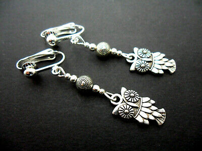 A Pair Of Tibetan Silver  Dangly Owl Clip On   Earrings. New.