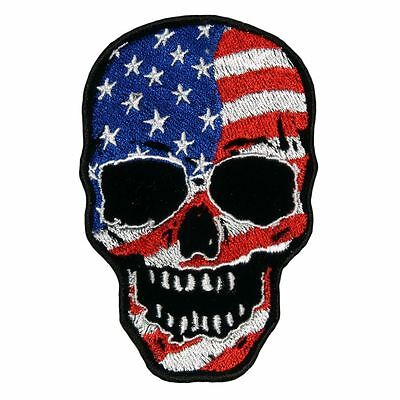 SKULL USA FLAG EMBROIDERED IRON ON 11 inch BIKER PATCH
