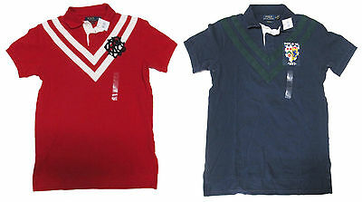 Ralph Lauren Mens Slim Custom Fit Big Pony Shield Crest Striped Rugby Polo Shirt