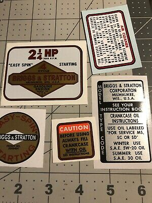 Briggs & Stratton engine decals Lil Indian 2-1/4hp Set