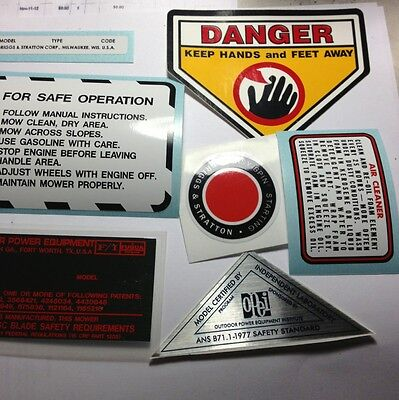 Snapper mowers decal Set 1980 and Back Fuqua 7 In All For Briggs And Snapper 3.5