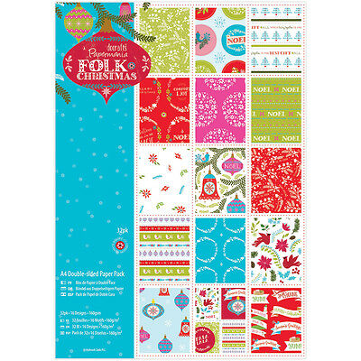 """""""Papermania Double-Sided Paper Pack A4 32/Pkg-Folk Christmas, Linen Finish"""""""