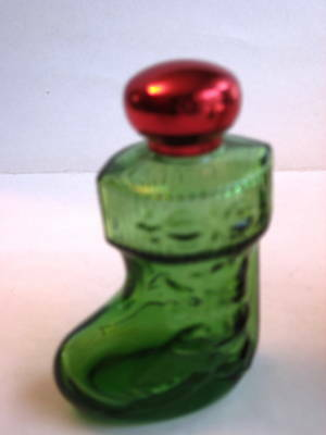 Vintage Avon Christmas Stocking Bottle - Green Glass