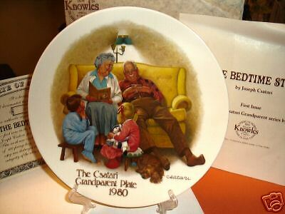 "Knowles Csatari Grandparent ""the Bedtime Story"" Collectors Plate 1980 With Box"
