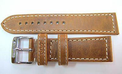 24Mm German Made Tan Leather Stitched Strap & Steel Buckle By Glycine