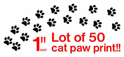 Cat Paws stickers bundle of 50 Prints Vinyl Decals Tracks color available