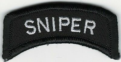 "1"" x 2 1/4"" Black White Sniper Tab Patch VELCRO® BRAND Hook Fastener Compatible"