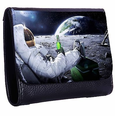 Astronaut Having A Beer On The Moon Tri-Fold Wallet w/ Button Pocket