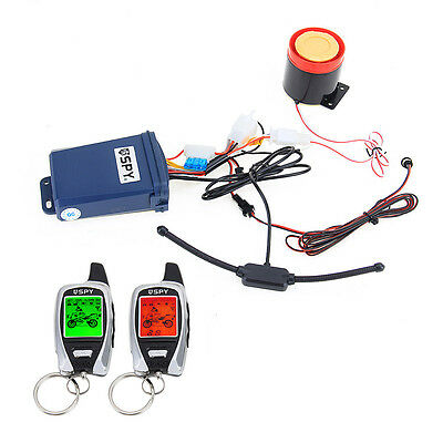 Two Way Motorcycle Alarm System Engine Start & 2 LCD Remote Transmitters