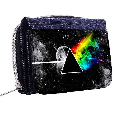 Stylized The Dark Side Of The Moon Tri-Fold Half Wallet w/ ID Window Button