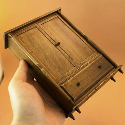Dollhouse Miniature Old Chinese Style Wardrobe Armoire Wooden Closet 1/12th