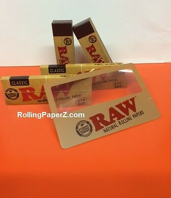 2 Packs of Raw 1 1/4 Classic Rolling Papers + 100 Tips + Magnifier Scooping Card