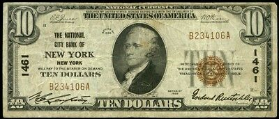 $10 New York New York National City Bank 1929~#1461~National Currency~Wide 3