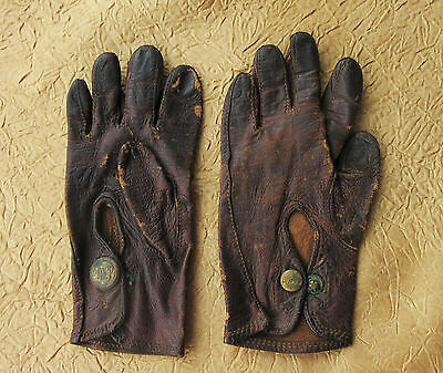 Victorian Children's Leather Riding Gloves very tiny marked D & P Edwardian