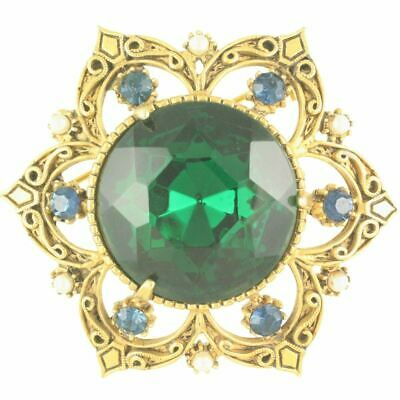 677b0338a VINTAGE Florenza Green Rhinestone Statement Brooch Pin Victorian Revival  Style