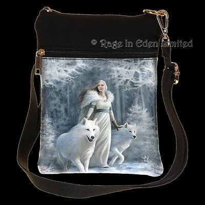 *WINTER GUARDIANS* White Wolf Maiden Art Shoulder Bag By Anne Stokes