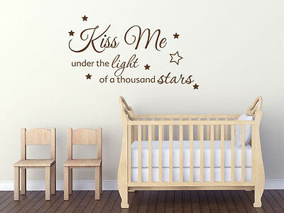 """Wall Quote """"Kiss Me Under The Light.."""",  Wall Sticker, Modern Vinyl Transfer."""