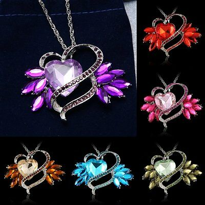 Women Heart Crystal Rhinestone Flower Pendant Necklace Long Sweater Chain Gift
