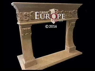 Beautiful Large Hand Carved Marble Estate Fireplace Mantel - Jd607
