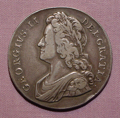 1739 KING GEORGE II SILVER CROWN - Nice Grade Coin
