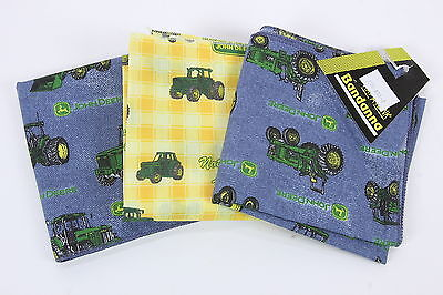 "Three (3) New John Deere Bandannas Denim Style Print & Yellow Squares 21"" x 21"""