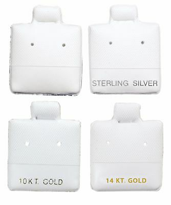"""100 White Plain 10k 14k Cards Silver Jewelry Puff Earring Pad Display 1"""" X 1"""""""