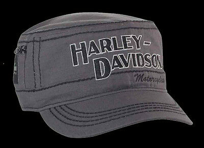 Harley Davidson Mens H-D Name Ripstop Charcoal Cotton Painters Cap HAT