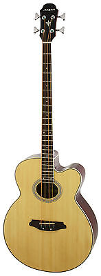 New Natural Aria 4 String Acoustic Electric Bass Guitar -Model Feb-30M/n