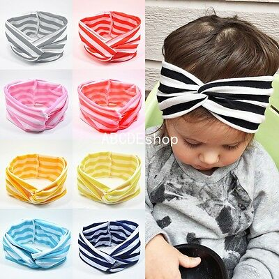 New Girls Kids Baby Bow Hairband Headband Stretch Cute Turban Knot Head Wrap