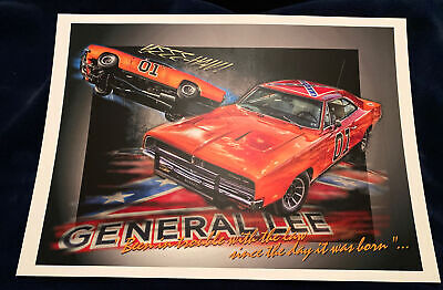 Dukes Of Hazard General Lee Signed Print
