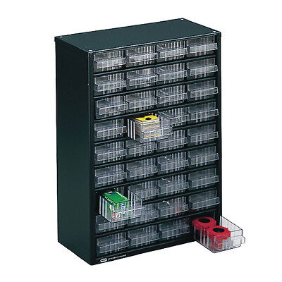 Clear 36 Drawer System Dark Grey Storage Cabinet 324160