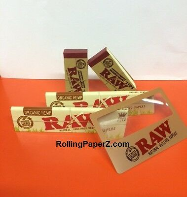 2 Packs of Raw KING SIZE SLIM ORGANIC Rolling Papers + 100 Tips + Magnifier Card