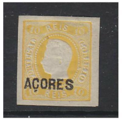 Azores - 1868/70, 10r Yellow - Imperf stamp - M/M - SG 2
