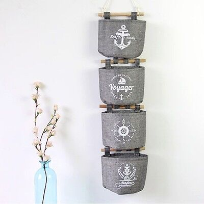 Multifunction Cotton Linen Wall Hanging Storage Bag Sundries Organizer Hanger