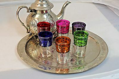 Unusual set of 6 colourful Moroccan tea glasses. Glass set in an attractive box