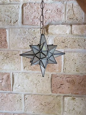 """Moravian 9.5"""" frosted glass star different size points"""