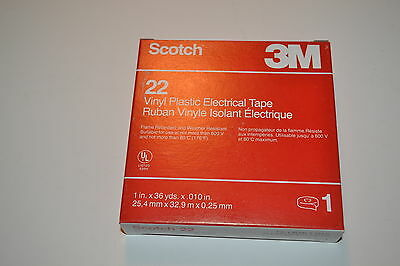 "2 NEW 3M Scotch 22 (1""x36 Yds) HEAVY DUTY VINYL PLASTIC ELECTRICAL TAPE WR.12bA7"