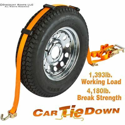 Single Car Tire Tie Down Strap with Swivel Hook Ends & Wheel Grips