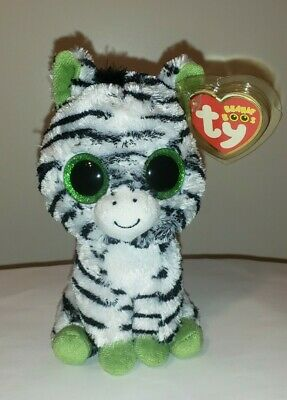 "Ty Beanie Boos ~ ZIG-ZAG the 6"" Zebra (Glitter Eyes) NEW with MINT TAGS ~RETIRED"